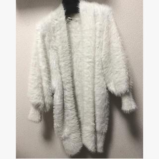 ファーファー(fur fur)のFURFUR フェザーカーディガン ガウン ホワイト(カーディガン)