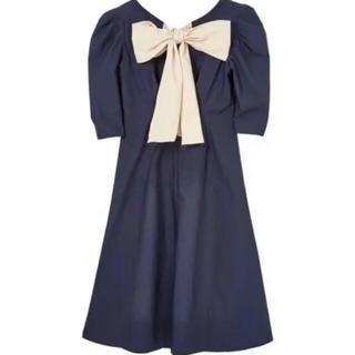 エーケービーフォーティーエイト(AKB48)のBack Ribbon Midi Dress ネイビーSサイズ(ひざ丈ワンピース)