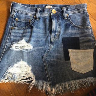 ロデオクラウンズ(RODEO CROWNS)のフリンジデニムスカート(ミニスカート)