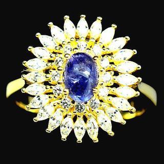 新品★鑑別書付★15号 美しい夕暮れの青 非加熱2ct天然タンザナイトリング(リング(指輪))