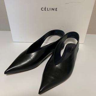 セリーヌ(celine)の新品 CELINE エッセンシャル Vカットフラットシューズ ブラック 37.5(バレエシューズ)