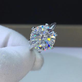 【5カラット 】輝くモアサナイト ダイヤモンド リング K18WG(リング(指輪))