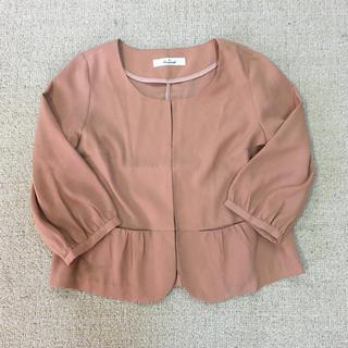 スタディオクリップ(STUDIO CLIP)のreasterisk ノーカラージャケット サーモンピンク 春ジャケット(ノーカラージャケット)