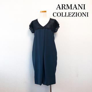 アルマーニ コレツィオーニ(ARMANI COLLEZIONI)のARMANI COLLEZIONI 膝丈 ドレス ワンピース ネイビー 結婚式(ミディアムドレス)