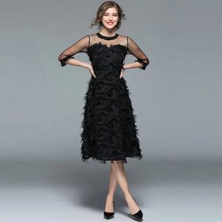 GRACE CONTINENTAL - 孔雀 ブラックワンピースドレス 黒