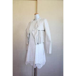 プロポーションボディドレッシング(PROPORTION BODY DRESSING)のPROPORTION BODY DRESSING レザージャケット ベージュ M(ライダースジャケット)