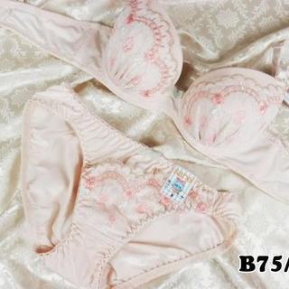 082★B75 M★美胸ブラ ショーツ 谷間メイク フラワーアーチ刺繍 ピンク(ブラ&ショーツセット)