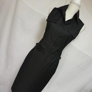 INED - 美品イネド 格好いい美形ノースリーブサファリワンピース 春夏 黒 11号Lサイズ