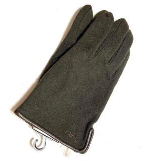 クロエ(Chloe)の新品 本革 ニット カシミヤ 手袋 レザー ブラウン(手袋)