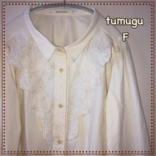 tumugu - tumugu ツムグ ブラウス コットン 刺繍 フリル レディース トップス F