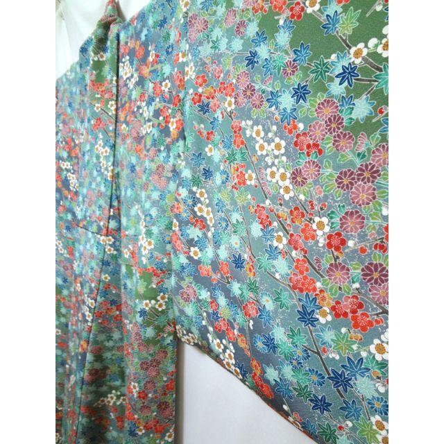 錆浅葱色のぼかしに梅菊楓 小紋 レディースの水着/浴衣(着物)の商品写真
