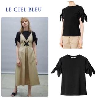 ルシェルブルー(LE CIEL BLEU)のLE CIEL BLEU ショルダーリボントップス36 ブラック 半袖Tシャツ(Tシャツ(半袖/袖なし))