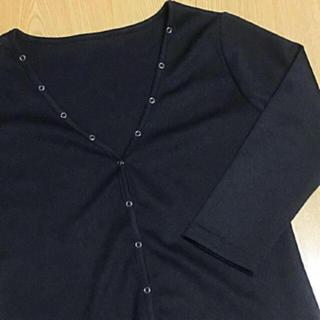 サンタモニカ(Santa Monica)の古着屋 カーディガン 七分袖 カットソー 七分袖 トップス ブラック(カーディガン)