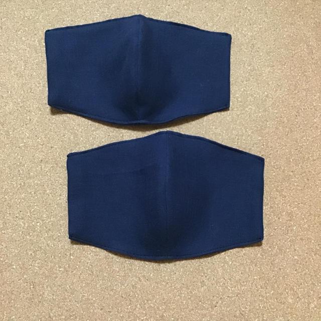 立体 インナーますく 紺 2枚組の通販