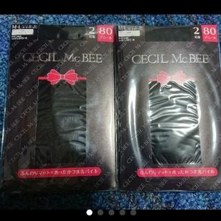 CECIL McBEE - セシルマクビー タイツ黒ブラック  M-L 4足 80デニール新品 売2200円