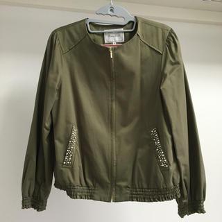 クチュールブローチ(Couture Brooch)のWOMENS カーキジャケット ビジュー付き(ノーカラージャケット)