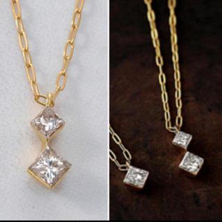 アガット(agete)のアガット プリンセスカット 2粒ダイヤ ダイヤネックレス k18(ネックレス)