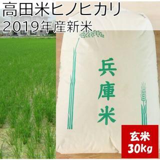 兵庫県産直送 高田米 減農薬 ヒノヒカリ/ 玄米 / 30kg/ 2019年産(米/穀物)