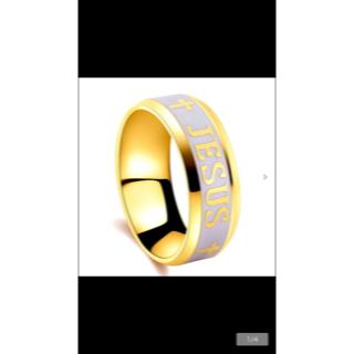 28号 主イエス十字架彫刻 ゴールドリング(リング(指輪))