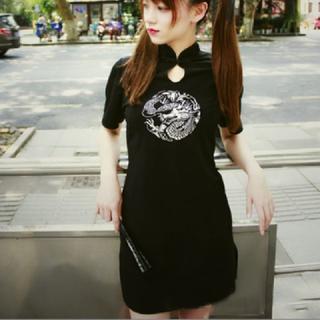 (M) チャイナ風 ミニワンピース 華ロリ 中華 ロリータ 刺繍(衣装一式)