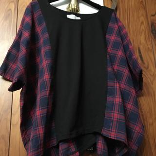 イーエムノアール(e.m. noir)のn'Or  L ebel ☆チェック・ブラックTシャツ 週末出品^ - ^(Tシャツ(半袖/袖なし))