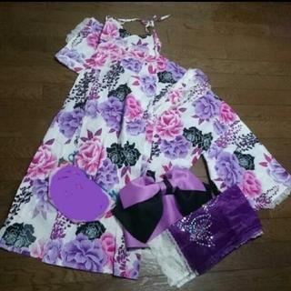 ユメテンボウ(夢展望)の夢展望 浴衣 セパレート ワンピース 上下 上と下 花柄 セット 紫 白 ピンク(浴衣)