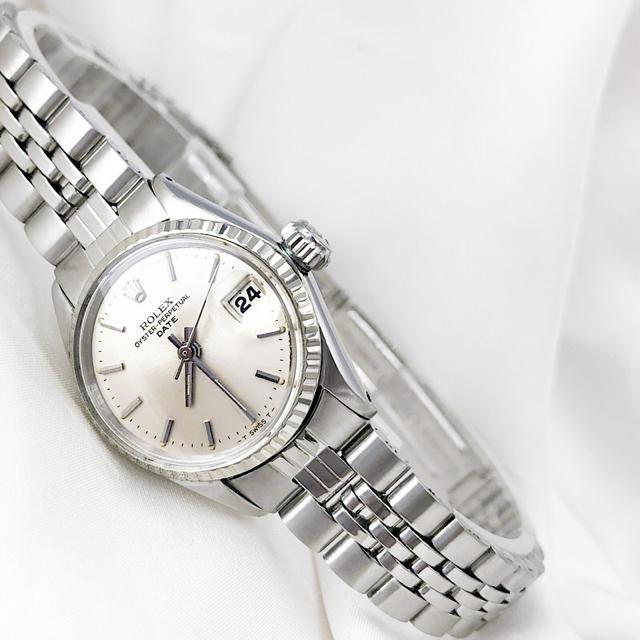 ROLEX - 【OH済】ロレックス オイスター デイト シルバー レディース 腕時計の通販