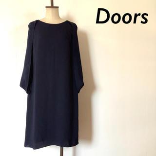ドアーズ(DOORS / URBAN RESEARCH)のDoors デザイン スリーブ パーティー ワンピース ドレス ネイビー(ミディアムドレス)