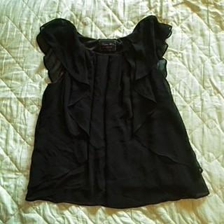 ラグナムーン(LagunaMoon)のラグナムーン  フリルトップス ブラック F(カットソー(半袖/袖なし))