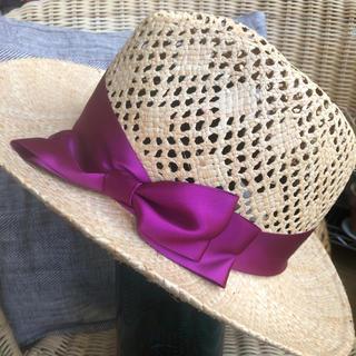 カシラ(CA4LA)のca4la カシラ 麦わら帽子 レディース ラフィア 素材 大きなサイズ リボン(麦わら帽子/ストローハット)