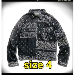 キャピタル(KAPITAL)のキャピタル ガーゼバンダナパッチワーク ジャケット ブラック サイズ4 XL(ブルゾン)