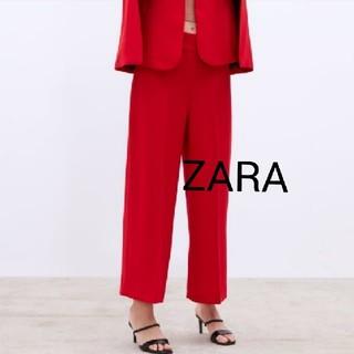 ザラ(ZARA)の新品ZARAザラワイドパンツハイウエスト赤XS(カジュアルパンツ)