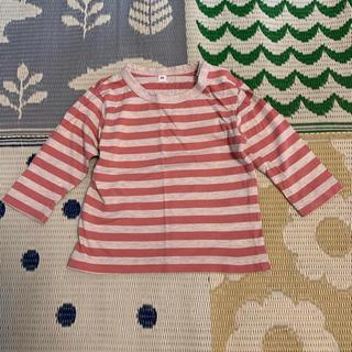 MUJI (無印良品) - 無印良品 80cm  赤色ボーダー 長袖Tシャツ