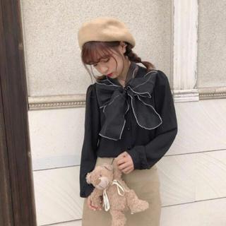 ハニーシナモン(Honey Cinnamon)の韓国ファッション💖ビッグリボンスカーフブラウス(シャツ/ブラウス(長袖/七分))