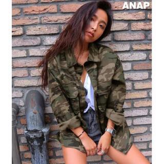 アナップ(ANAP)のWポケットカモフラロングジャケット オーバーサイズミリタリージャケット(ミリタリージャケット)