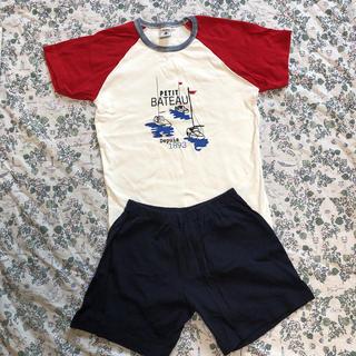 プチバトー(PETIT BATEAU)の美品☆プチバトーバイカラープリント半袖パジャマ10ans(パジャマ)