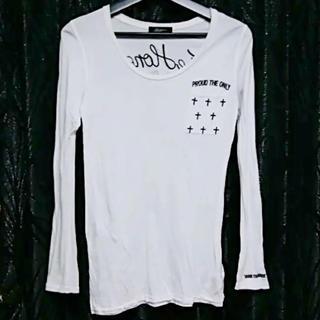 アズールバイマウジー(AZUL by moussy)のAZUL by moussyメッセージロゴエンブレムUネック長袖Tシャツ白XS(Tシャツ(長袖/七分))