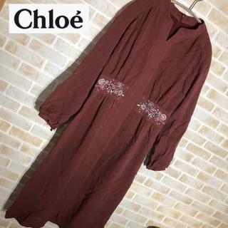 クロエ(Chloe)の【Chloe】クロエ 花柄 刺繍 ワンピース ナチュラル 40(ひざ丈ワンピース)