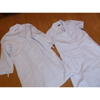 レディースドクターコート2枚★M★水色長袖半袖白衣実習服医療用ウエア(その他)