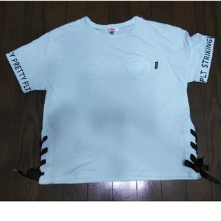 ピンクラテ(PINK-latte)のピンクラテ ミントブルーのリボンTシャツ☆165(Tシャツ/カットソー)