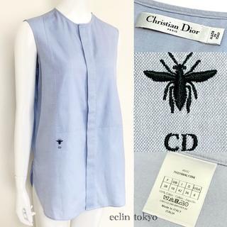 Christian Dior - ディオール《ブルー》ノースリーブ ブラウス 38 マリアグラツィア E1802