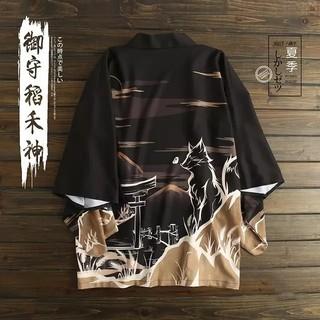 狼と鳥居 法被 着物 浴衣 フリーサイズ(浴衣)