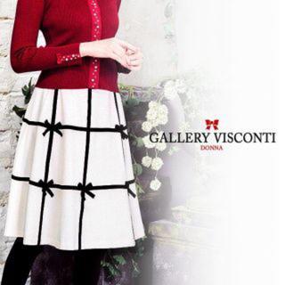 ギャラリービスコンティ(GALLERY VISCONTI)のカタログ掲載品!配色グログランリボンが可愛いフレアーラインスカート(ひざ丈ワンピース)