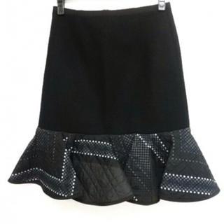 サカイ(sacai)のサカイ Sacai スカート サイズ1 S 黒×ライトグレー×マルチ(ひざ丈スカート)
