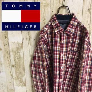 トミーヒルフィガー(TOMMY HILFIGER)のトミーヒルフィガー  ワンポイント ビッグロゴ ユルダボ チェック 長袖 シャツ(シャツ)
