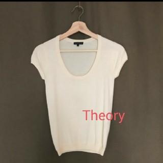 セオリー(theory)のTheoryセオリー半袖ニットクルーネックオフホワイトS(カットソー(半袖/袖なし))