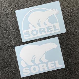 ソレル(SOREL)の【白 2枚セット】SOREL ベアーロゴ カッティングステッカー 送料無料(その他)