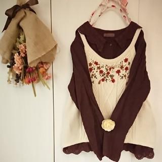 サマンサモスモス(SM2)のsm2  お花刺繍ニットキャミソール(ニット/セーター)