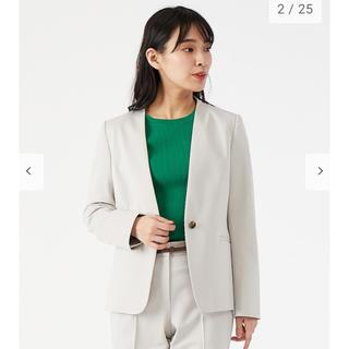 PLST - ポリエステルトリコットカラーレスジャケット PLST 美品 スーツ