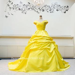 ベルドレス/レモンイエロー披露宴ウエディングプリンセスドレス(パニエ無料)(ウェディングドレス)